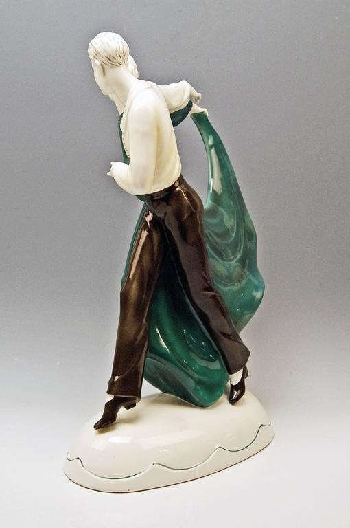 Glazed Katzhuette Dancing Couple Thuringia Germany Art Deco Goldscheider Style c.1930 For Sale