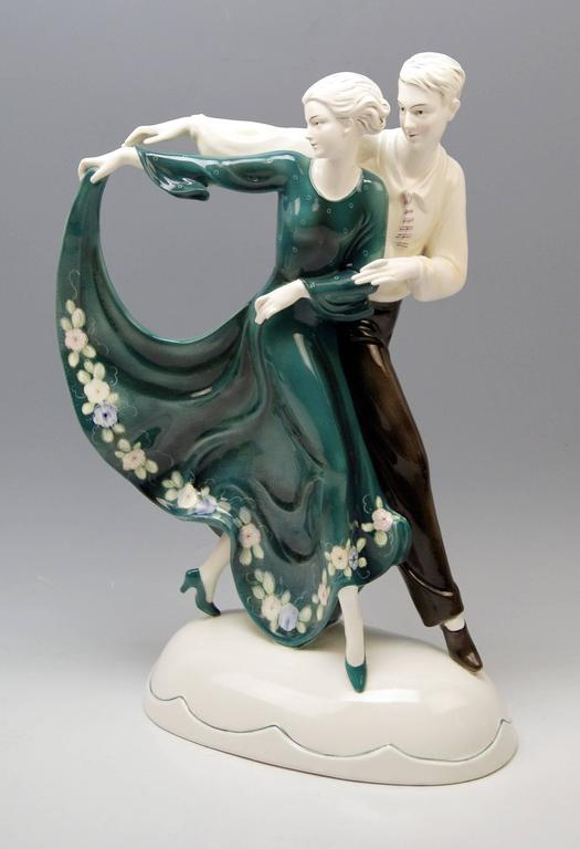 Mid-20th Century Katzhuette Dancing Couple Thuringia Germany Art Deco Goldscheider Style c.1930 For Sale