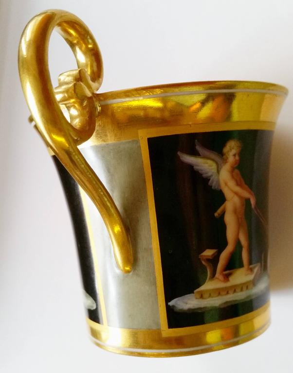 Vienna Imperial Porcelain Cup Saucer Cherubs Driving Chariots Dated 1814 Austria 4