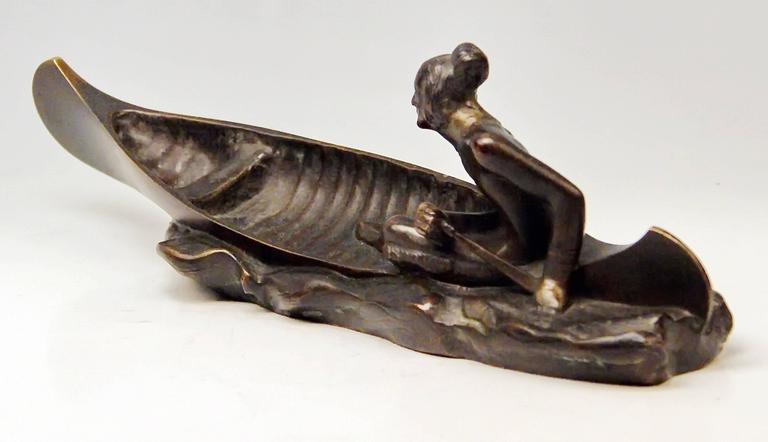 20th Century Vienna Bronze Carl Kauba Style Native American Red Indian in Canoe Boat c.1920 For Sale