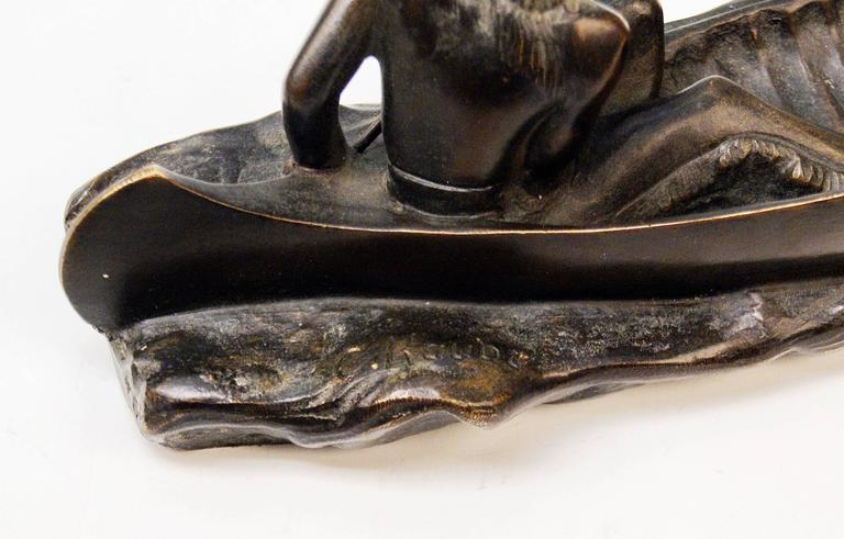 Vienna Bronze Carl Kauba Style Native American Red Indian in Canoe Boat c.1920 For Sale 1