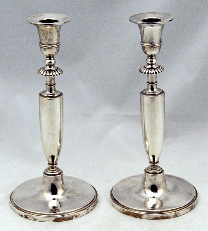 Austrian excellent Empire / early Biedermeier silver pair of candlesticks,