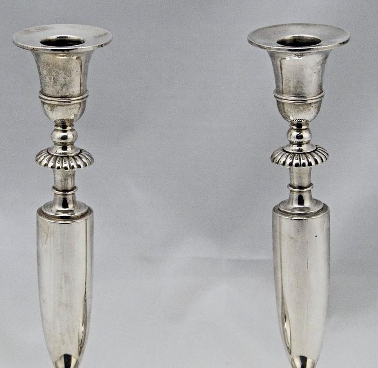 Austrian Pair of Candlesticks Silver 13 Lot Empire Austria Early Biedermeier Vienna 1813 For Sale