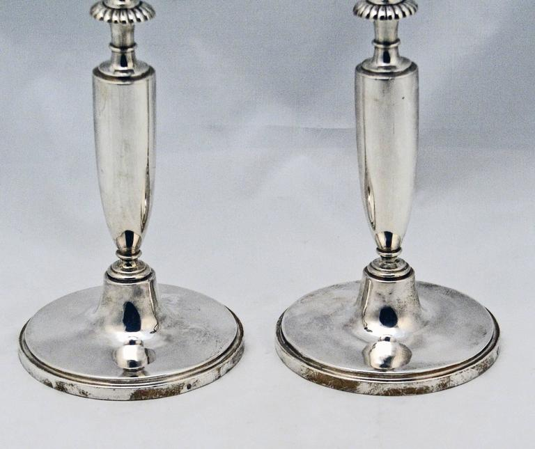 Pair of Candlesticks Silver 13 Lot Empire Austria Early Biedermeier Vienna 1813 In Excellent Condition For Sale In Vienna, AT