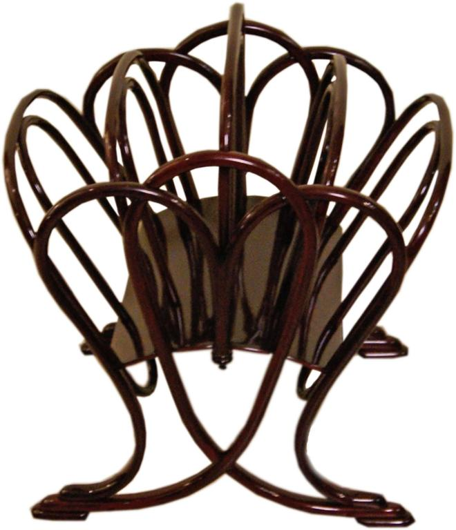 Thonet Magazine Rack Stand Beechwood Mahogany Stained Model 11801, circa 1904 3
