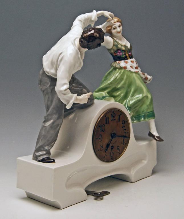 German Meissen Mantle Table Clock Konrad Hentschel Art Nouveau Dancing Couple 1910 For Sale