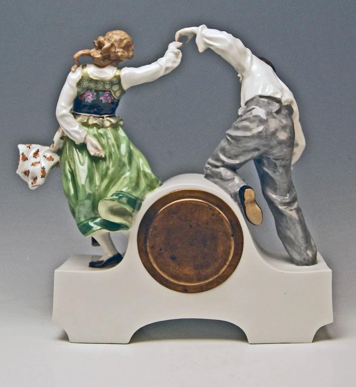 Glazed Meissen Mantle Table Clock Konrad Hentschel Art Nouveau Dancing Couple 1910 For Sale