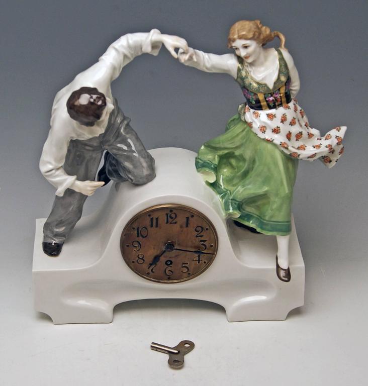 Meissen Mantle Table Clock Konrad Hentschel Art Nouveau Dancing Couple 1910 For Sale 1