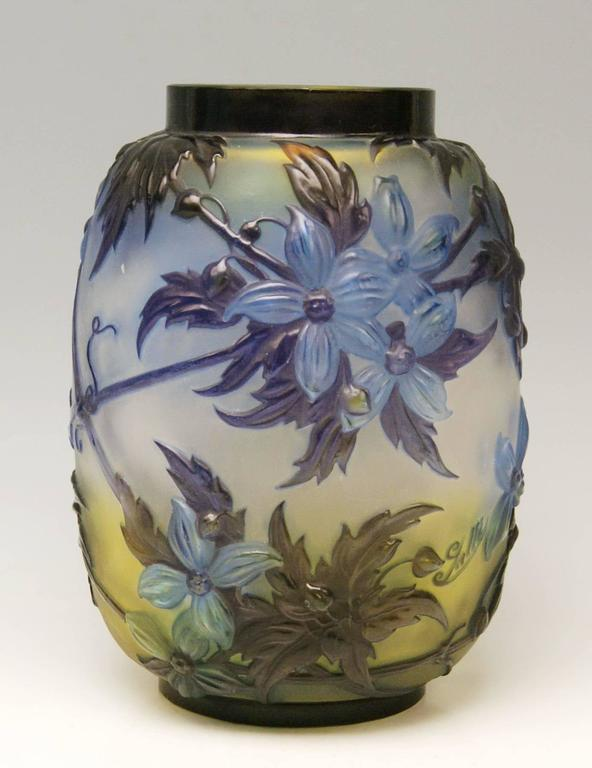 Gallé Nancy Art Nouveau bellied Soufflé Vase made in France (Nancy, Lorraine) / circa 1925   Specifications: Stunningly manufactured casing glass (yellowish-opalescent underneath / bright blue & dark violet shaded at outer wall). - It is a bellied