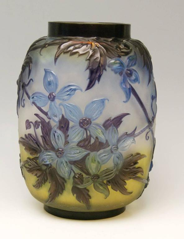 Etched Soufflé Vase Gallé Clematis Flowers Leaves Emile Galle Nancy Art Nouveau 1925 For Sale