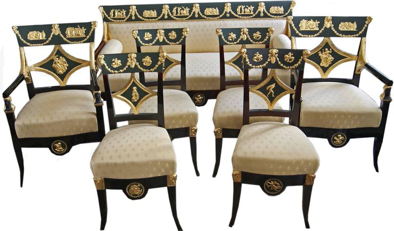 Gorgeous Viennese early Biedermeier Danhauser parlor set, consisting of ° two easy chairs with arms ° four chairs ° a settee All of them of finest manufacturing quality.  Made by Josef Ulrich Danhauser /Signed (origin / Provenance proved) *
