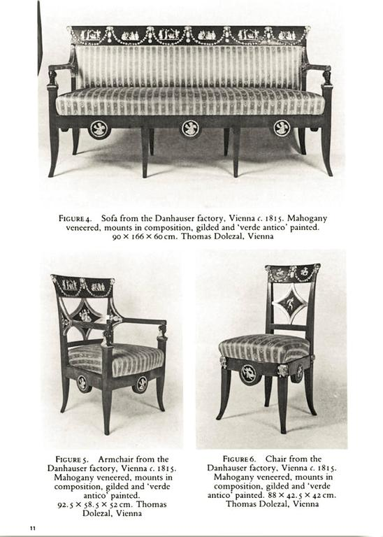 Austrian Danhauser Vienna Biedermeier Parlor Set Four Chairs Two Armchairs Settee 1815 For Sale