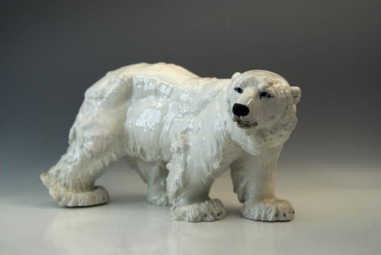 Meissen most remarkable and huge animal figurine:  Walking ice bear/ most lifelike impression:It is a Gorgeous model, indeed!  Manufactory: Meissen Hallmarked: Blue Meissen Sword Mark (underglazed) First quality Dating: made circa