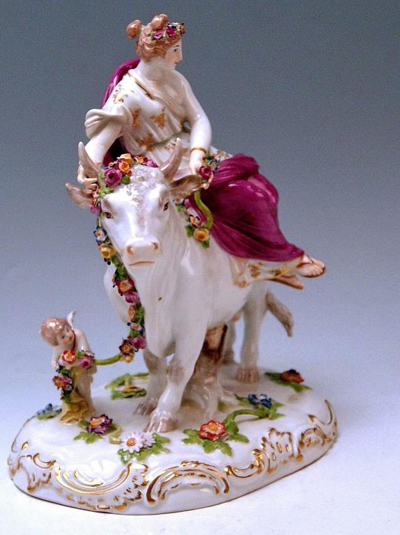 Meissen Figurines Europe Riding on White Bull by G. Juechtzer made circa 1880 3