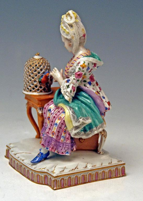 Rococo Meissen Five Senses the Feeling by Schoenheit Model E4, circa 1840-1850 For Sale