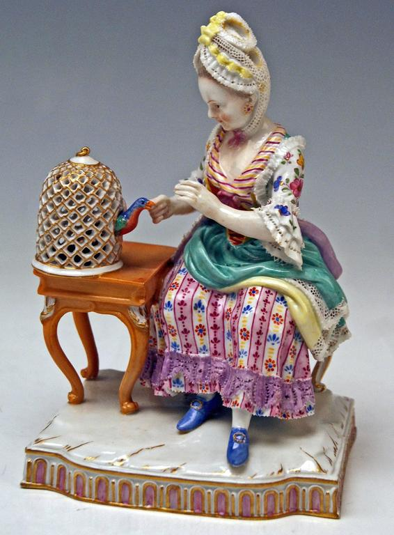 Glazed Meissen Five Senses the Feeling by Schoenheit Model E4, circa 1840-1850 For Sale