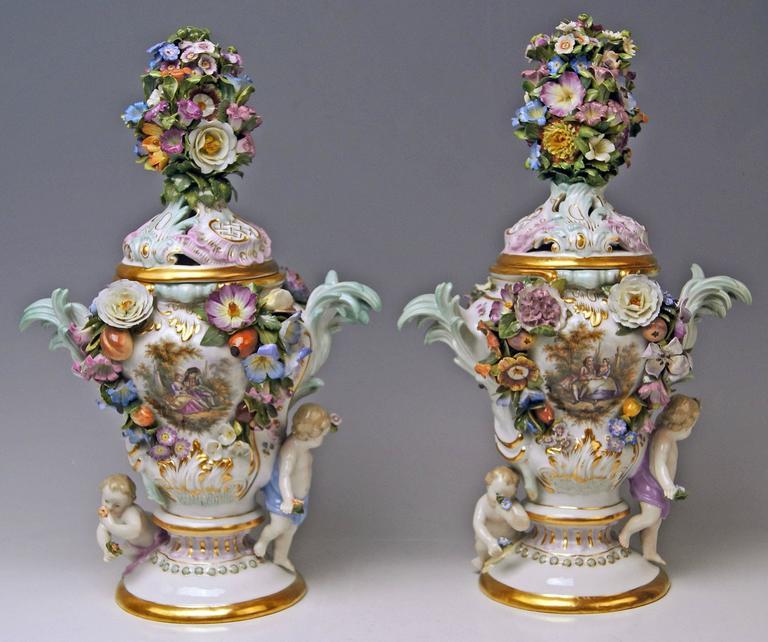 Glazed Meissen Pair of Kaendler Potpourri Lidded Vases Decorations, circa 1850 For Sale