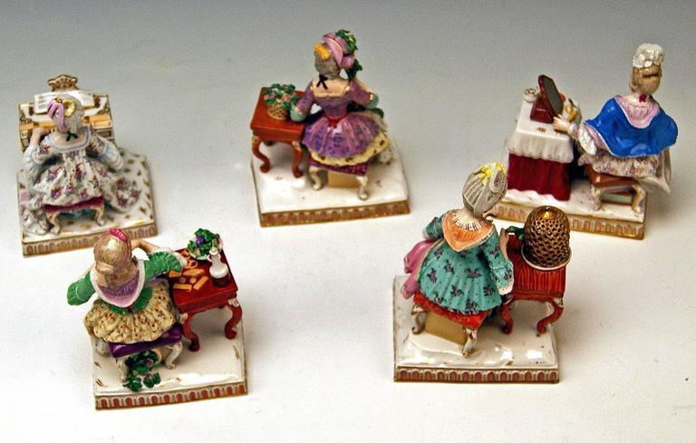 Rococo Meissen Rare Complete Series of Five Senses by Schoenheit Models E 1-5 For Sale