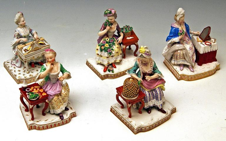 German Meissen Rare Complete Series of Five Senses by Schoenheit Models E 1-5 For Sale