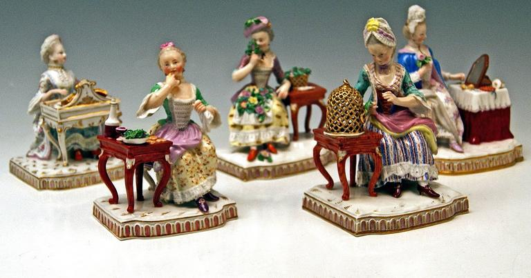 Glazed Meissen Rare Complete Series of Five Senses by Schoenheit Models E 1-5 For Sale