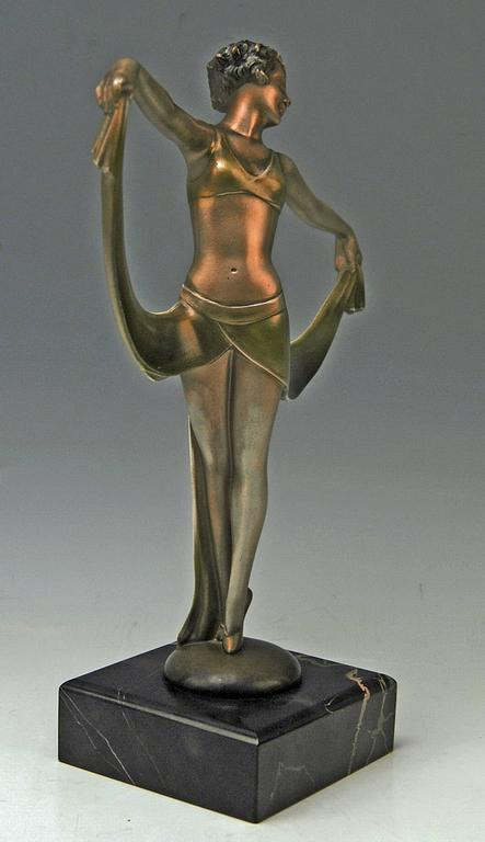 Art Deco Vienna Bronze Lady Dancer Josef Lorenzl Marble Base, circa 1925 For Sale