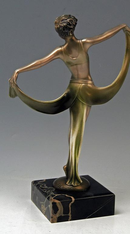 Austrian Vienna Bronze Lady Dancer Josef Lorenzl Marble Base, circa 1925 For Sale