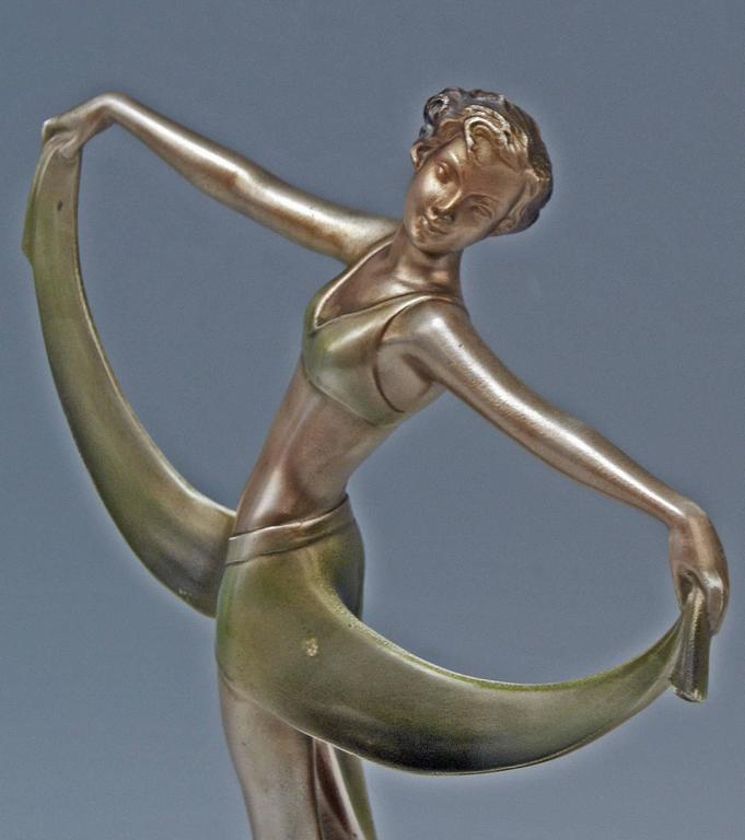 Cold-Painted Vienna Bronze Lady Dancer Josef Lorenzl Marble Base, circa 1925 For Sale