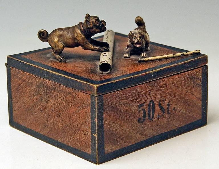 Gorgeous Vienna bronze tobacco box made by famous manufactory Bergman(n), circa 1890-1900.