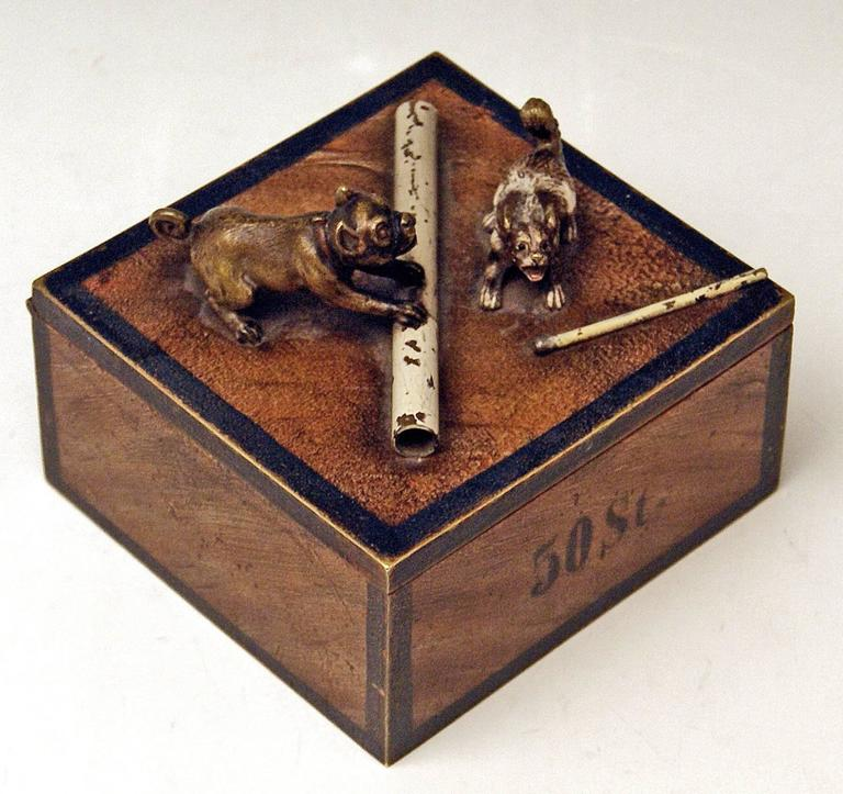 Other Vienna Bronze Tobacco Box with Dogs Pugs by Franz Bergman'n', circa 1890-1900 For Sale