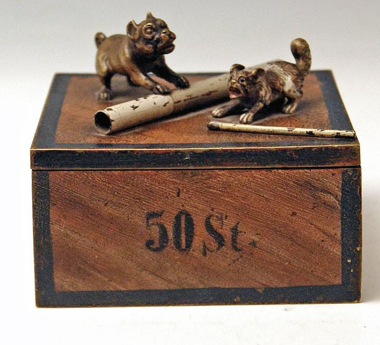 Late 19th Century Vienna Bronze Tobacco Box with Dogs Pugs by Franz Bergman'n', circa 1890-1900 For Sale