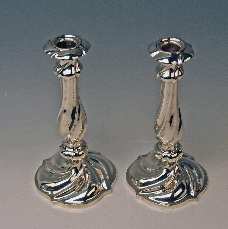 Austrian finest Biedermeier silver pair of candlesticks