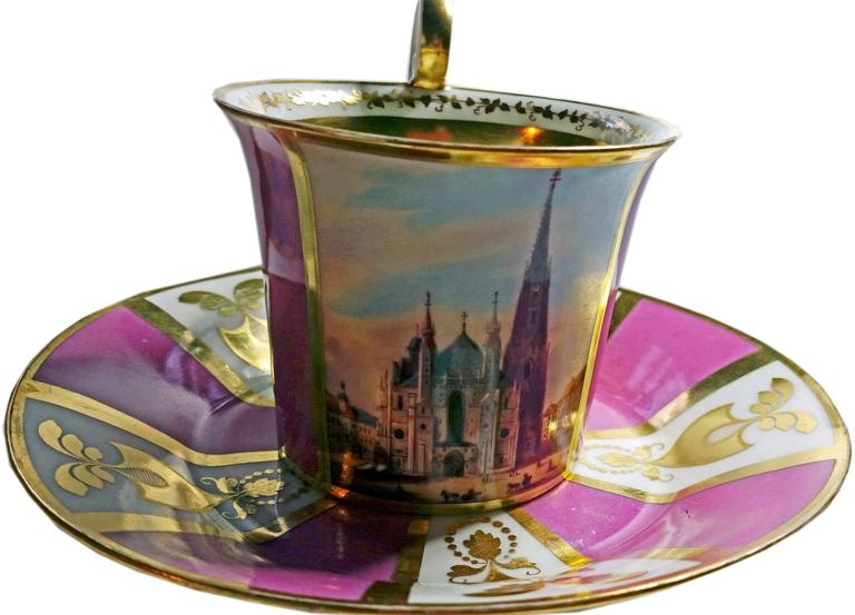 Cup with hoisted handle and saucer with view of Saint Stephen's Cathedral / Vienna.