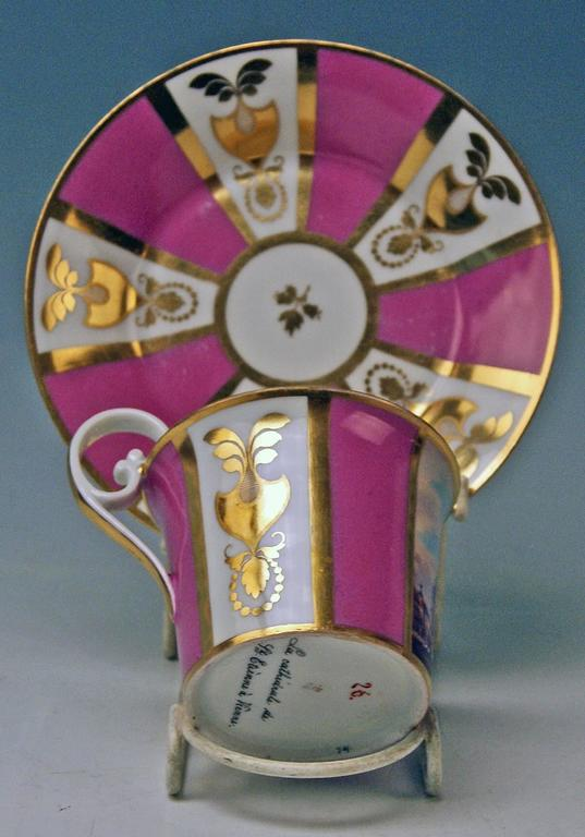 Biedermeier Vienna Imperial Porcelain Cup Saucer Saint Stephen's Cathedral Austria, 1821 For Sale