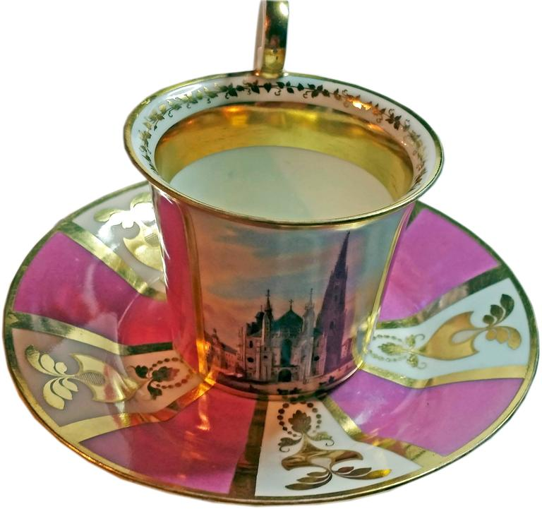 Austrian Vienna Imperial Porcelain Cup Saucer Saint Stephen's Cathedral Austria, 1821 For Sale