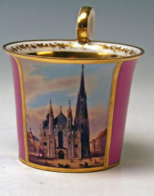 Glazed Vienna Imperial Porcelain Cup Saucer Saint Stephen's Cathedral Austria, 1821 For Sale
