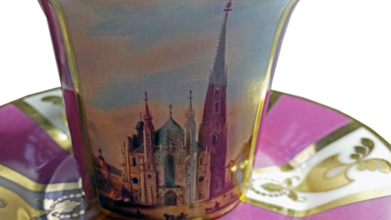 Early 19th Century Vienna Imperial Porcelain Cup Saucer Saint Stephen's Cathedral Austria, 1821 For Sale