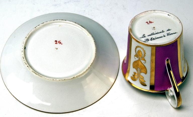 Vienna Imperial Porcelain Cup Saucer Saint Stephen's Cathedral Austria, 1821 For Sale 2