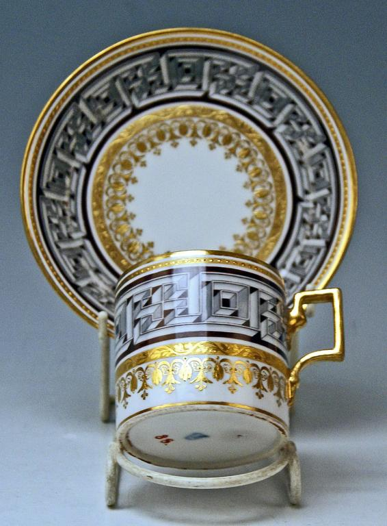 Vienna Imperial Porcelain Cup Saucer Sorgenthal Period Meander Ornament, 1800 2