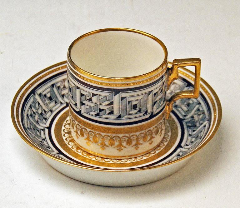 Vienna Imperial Porcelain Cup Saucer Sorgenthal Period Meander Ornament, 1800 3