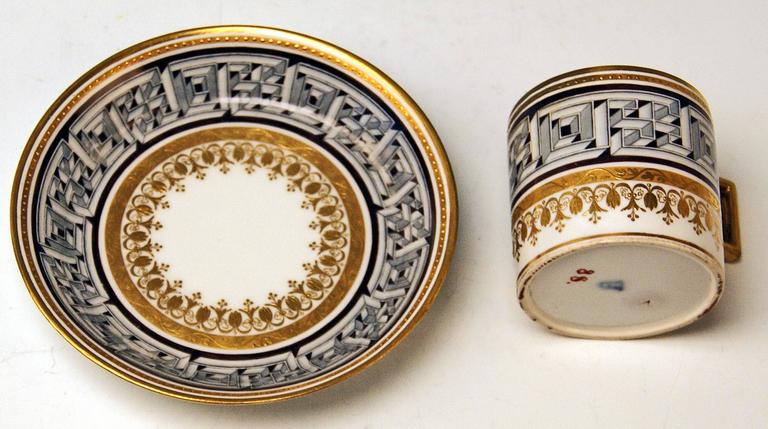 Vienna Imperial Porcelain Cup Saucer Sorgenthal Period Meander Ornament, 1800 4