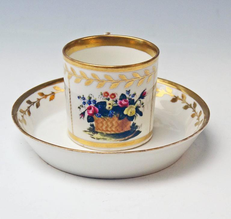Biedermeier Vienna Imperial Porcelain Cup Saucer Golden Ornaments Dictum and Flowers, 1816 For Sale
