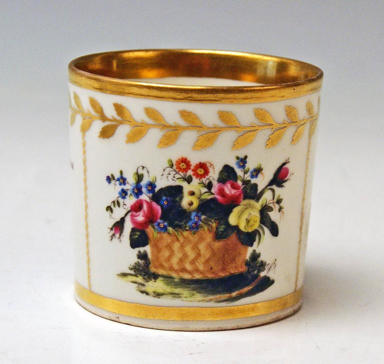 Austrian Vienna Imperial Porcelain Cup Saucer Golden Ornaments Dictum and Flowers, 1816 For Sale