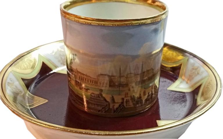 Vienna Imperial Porcelain Cup Saucer Schönbrunn Castle, Austria, 1811 2