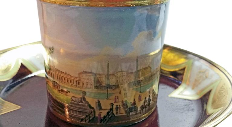Vienna Imperial Porcelain Cup Saucer Schönbrunn Castle, Austria, 1811 3