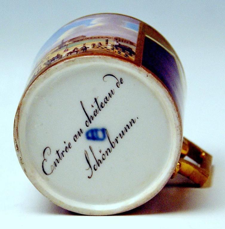 Vienna Imperial Porcelain Cup Saucer Schönbrunn Castle, Austria, 1811 6