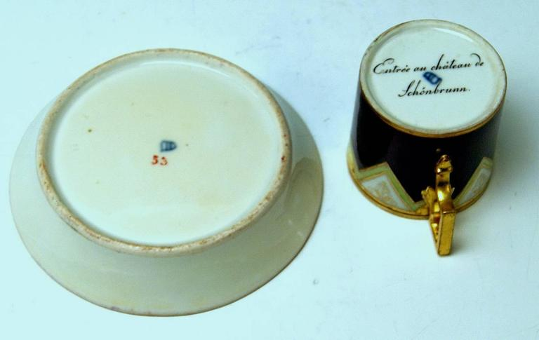 Early 19th Century Vienna Imperial Porcelain Cup Saucer Schönbrunn Castle, Austria, 1811 For Sale