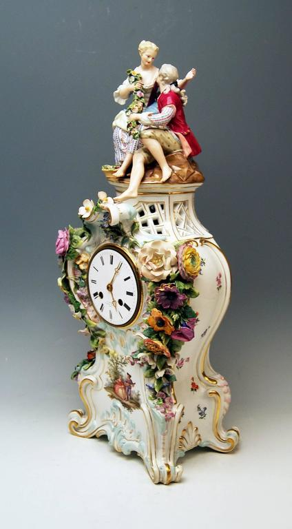 Meissen Mantle Table Clock Paintings Sculptured Figurines Flowers, circa 1860 3