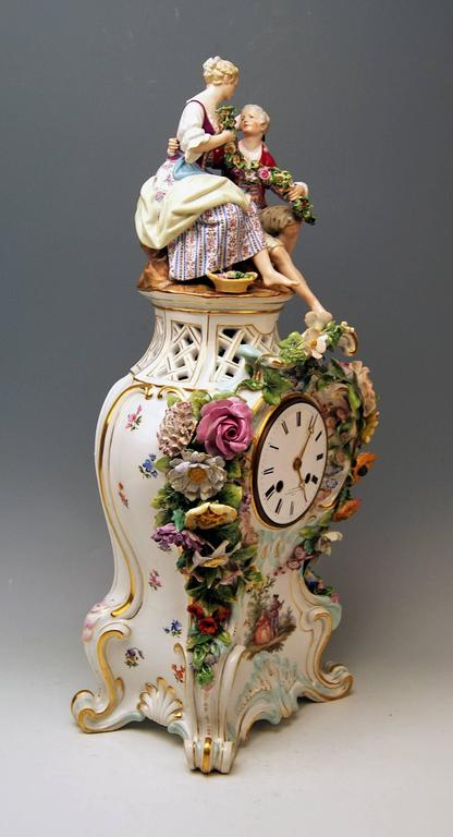 Meissen Mantle Table Clock Paintings Sculptured Figurines Flowers, circa 1860 4