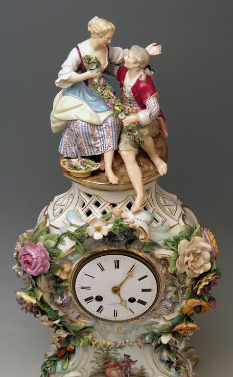 Glazed Meissen Mantle Table Clock Paintings Sculptured Figurines Flowers, circa 1860 For Sale