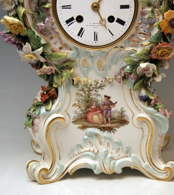 Meissen Mantle Table Clock Paintings Sculptured Figurines Flowers, circa 1860 7